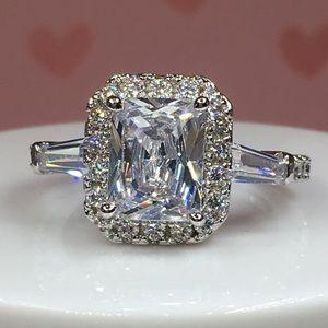 Jewelry - 18k white gold ring diamond halo emerald art deco